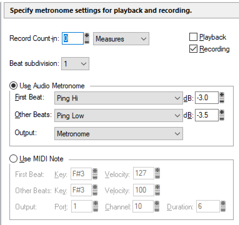No metronome settings