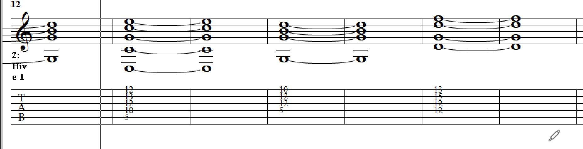 Tablature view