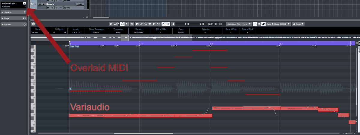Overlaid MIDI on VariAudio