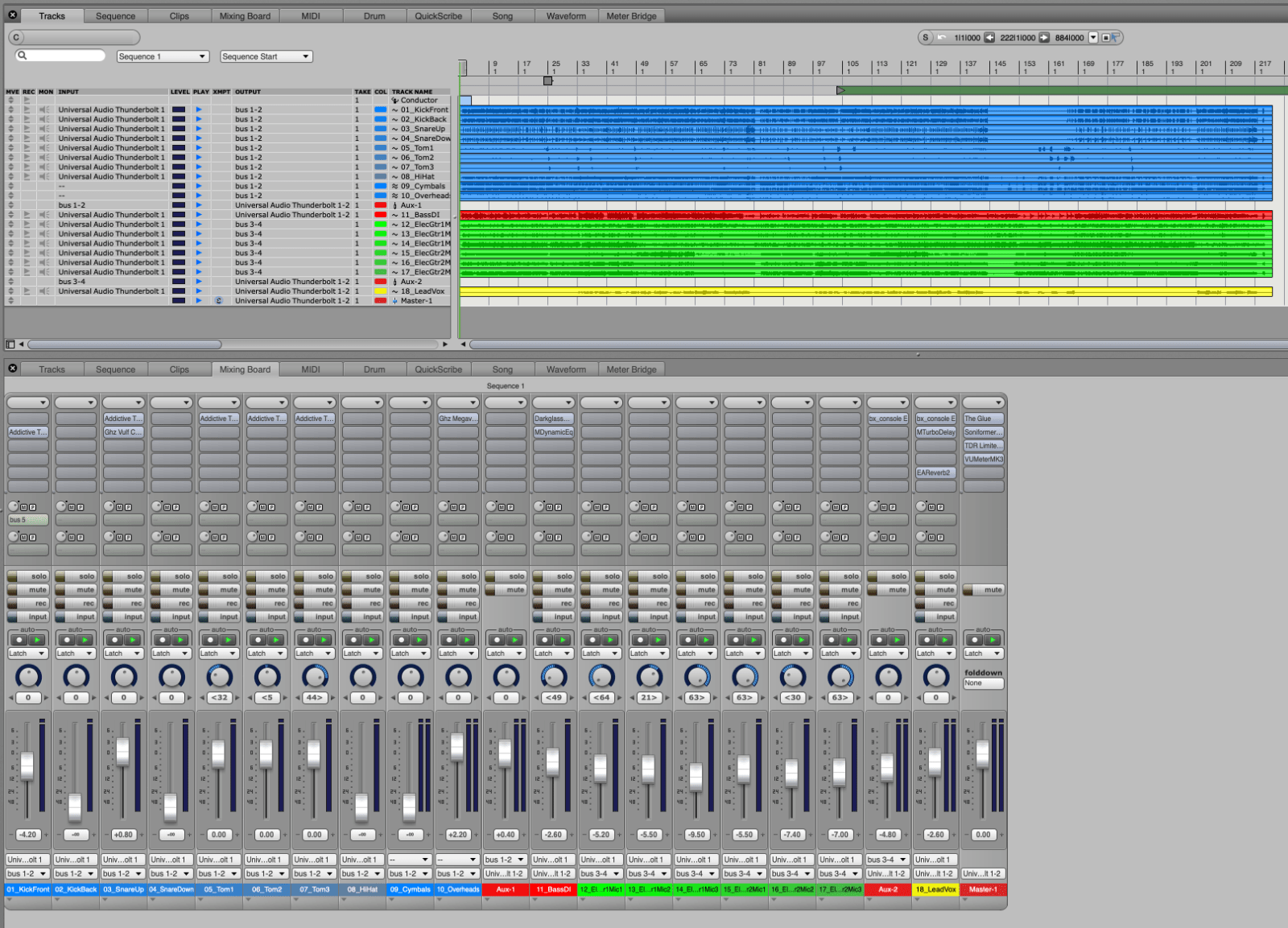 A simple sequence of a band recording