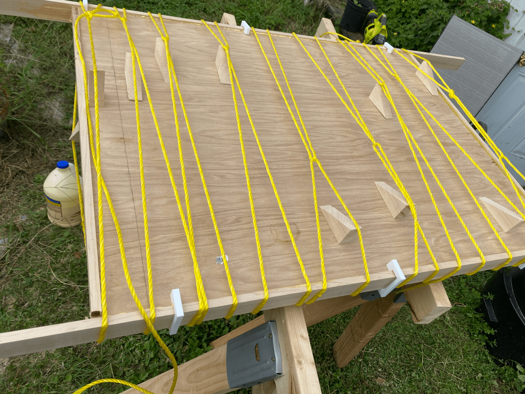 Clamping on Edge Banding on a Table