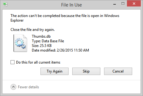 File is in use...